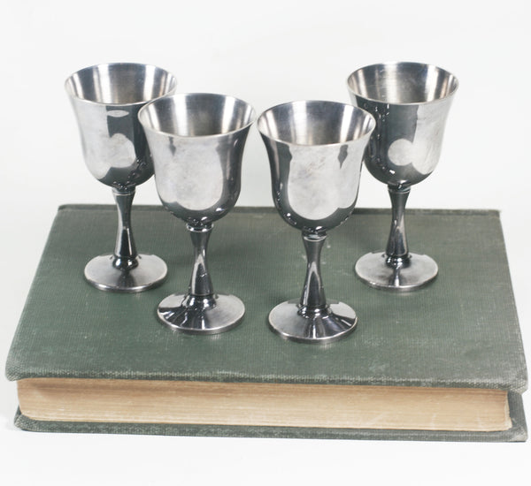 Salem Silverplate cups. set of 4, wine glasses, small chalice