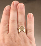 Chevron Ring Solstice Style Adjustable Brass