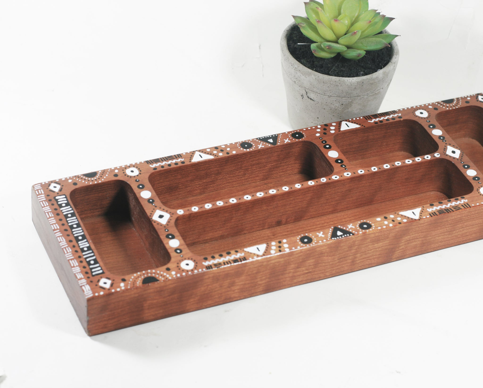 Wood Organizer / Sorting Tray,  Global Bohemian Style Office Decor