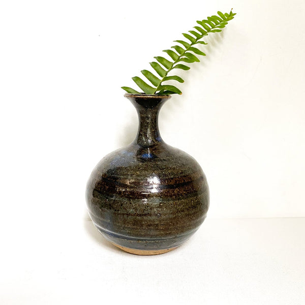 Vintage Studio Pottery Vase with Earthy Blue and Brown Stripes