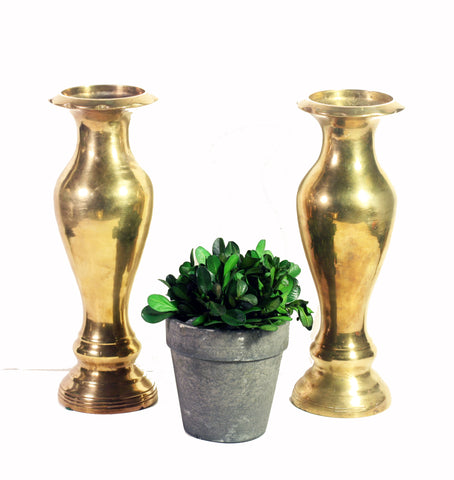 Two Curvy Brass Vases