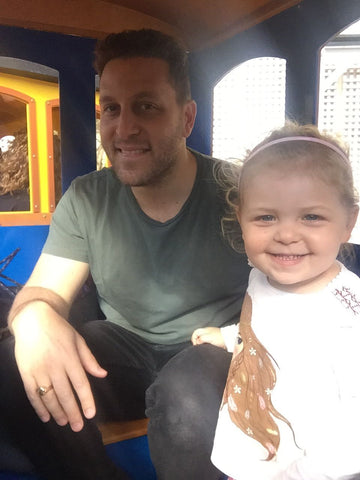 Daughter is chuffed with the choo-choo train ride at the Fairmont. Dad is obviously tired (see bags under eyes for proof)