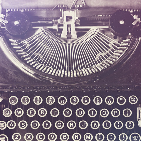 Black and White Vintage Typewriter Photo Print