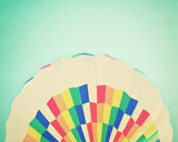 Abstract Rainbow Pattern Hot Air Balloon Wall Art