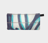 Teal and Black Graffiti Zippered Pouch