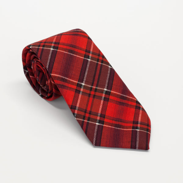 General Knot & Co. 1960's Vermillion Plaid Coal Floral Tie