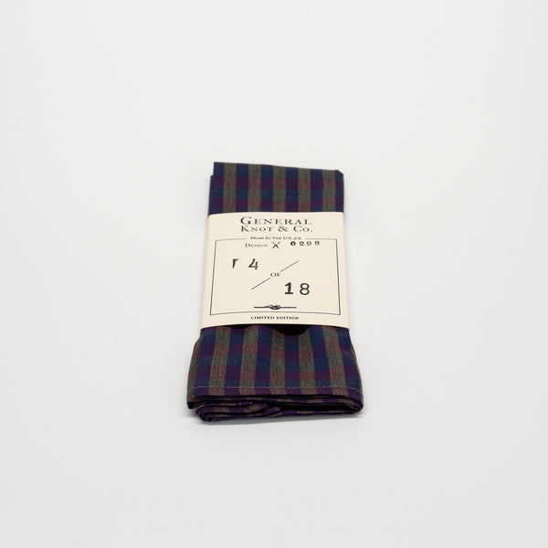 General Knot & Co. Ruby Check Pocket Square