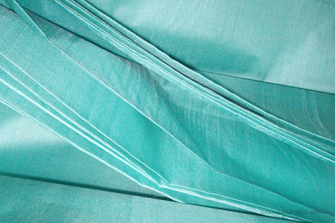Organic Handwoven Peace Silk Fabric - FQ, Yardage & Bolts - ICE SODA ( Bay Blue )