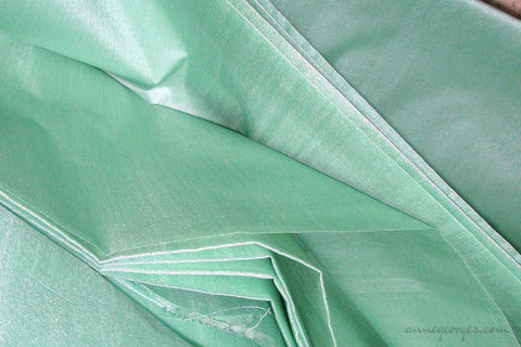 Organic Handwoven Peace Silk Fabric - FQ, Yardage & Bolts - ICE SODA ( Bay Green )