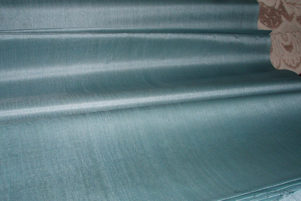 Organic Handwoven Peace Silk Fabric - FQ, Yardage & Bolts - ICE SODA ( Duck Egg )