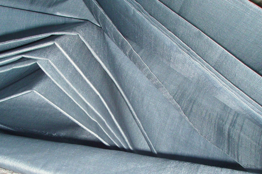 Organic Handwoven Peace Silk Fabric - FQ, Yardage & Bolts - ICE SODA ( Fog Blue )
