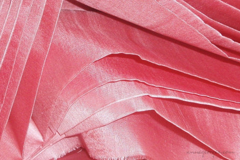 Organic Handwoven Peace Silk Fabric - FQ, Yardage & Bolts - ICE SODA ( Salmon )