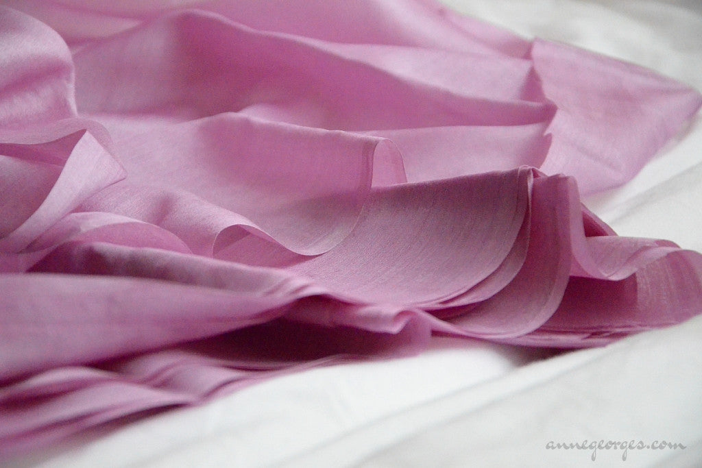 Organic Handwoven Peace Silk Fabric - FQ, Yardage & Bolts - MIDSUMMER DAYS ( Lilac Path )
