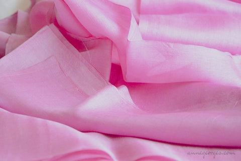 Organic Handwoven Peace Silk Fabric - FQ, Yardage & Bolts - MIDSUMMER DAYS ( Peony Whispers )