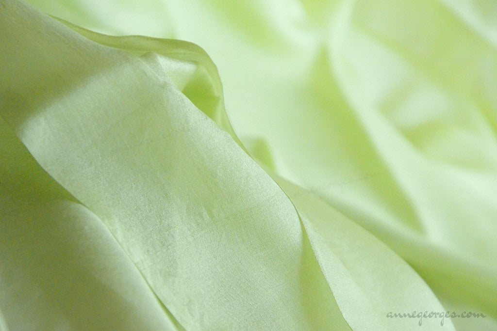 Organic Handwoven Peace Silk Fabric - FQ, Yardage & Bolts - MIDSUMMER DAYS ( Lime Sorbet )