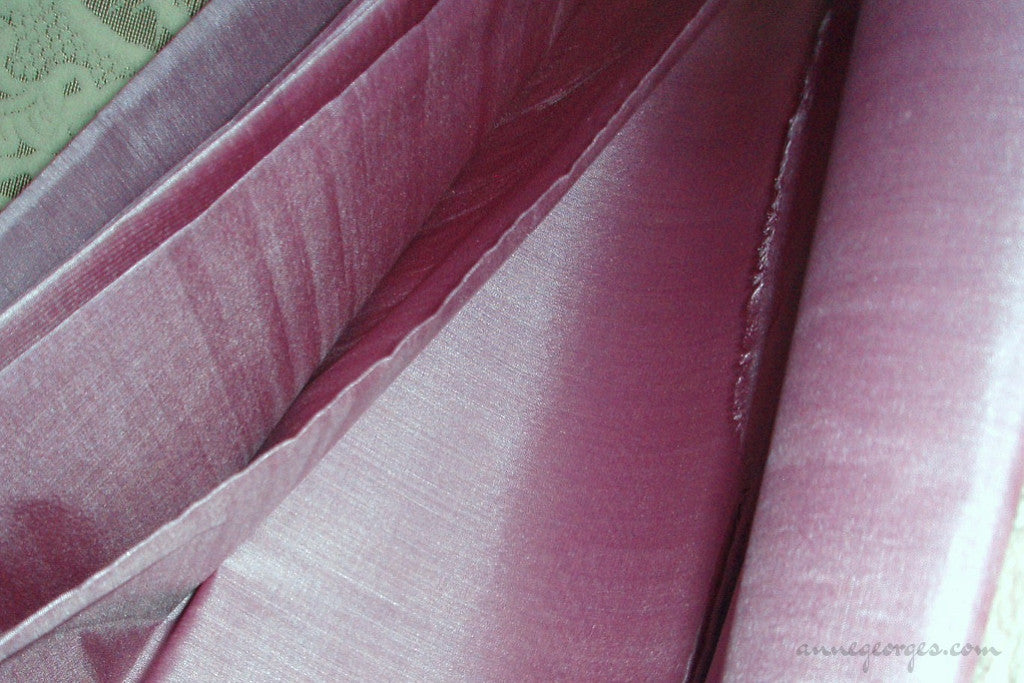 Organic Handwoven Peace Silk Fabric - FQ, Yardage & Bolts - ICE SODA ( Vintage Mauve )