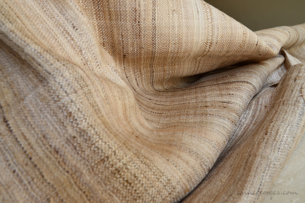 Handwoven Ahimsa Peace Silk Fabric - PEACE SILKS ( Wild Chevron, Unbleached )