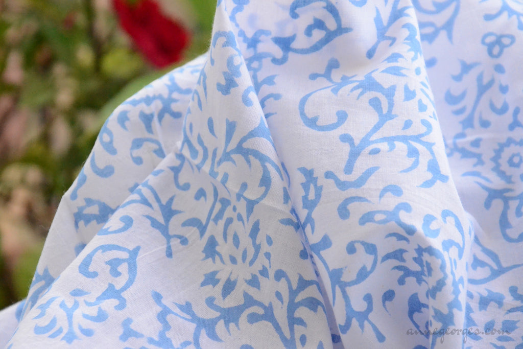 Block Printed Organic Cotton Fabric - SWEET SUMMER ( Floral Frieze, Skies )