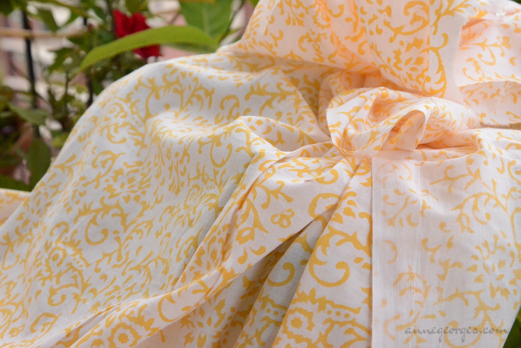 Block Printed Organic Cotton Fabric - SWEET SUMMER ( Floral Frieze, Sunshine )