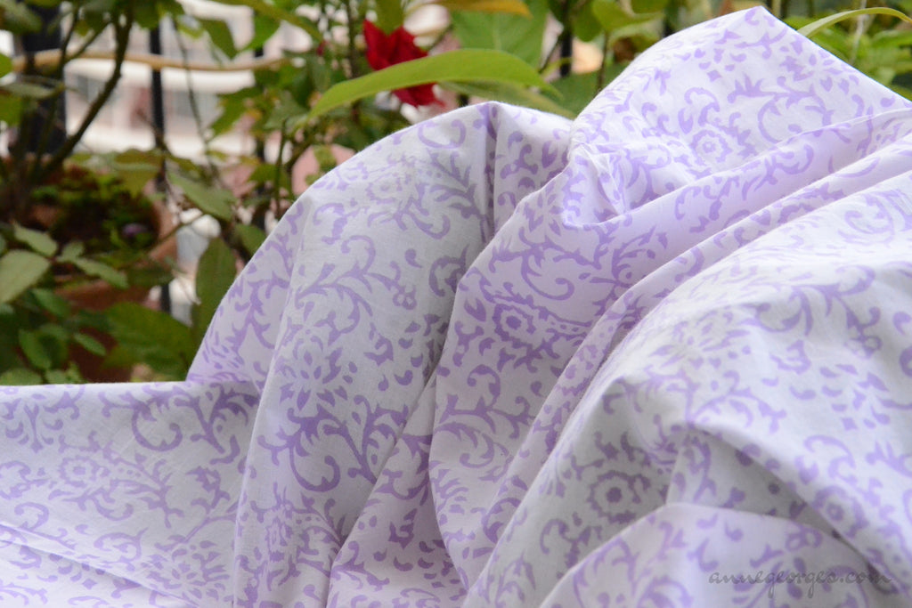Block Printed Organic Cotton Fabric - SWEET SUMMER ( Floral Freize, Lavender )