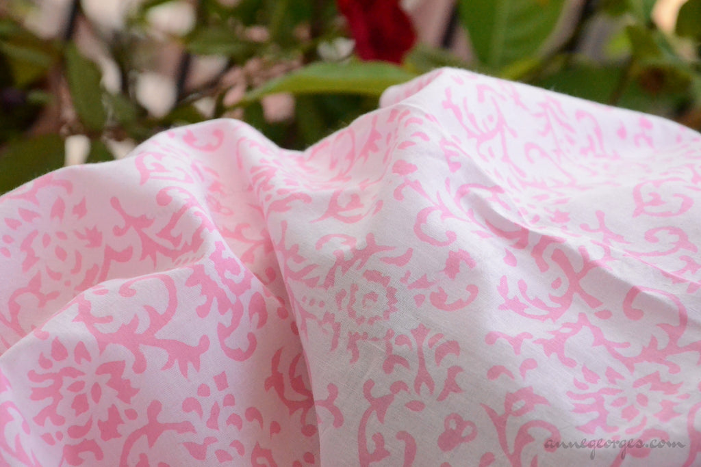 Block Printed Organic Cotton Fabric - SWEET SUMMER ( Floral Frieze, Candy )