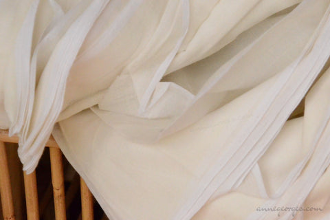 Organic Cotton Fabric. Super Soft & Light - ANGEL'S BREATH ( Soy Milk )