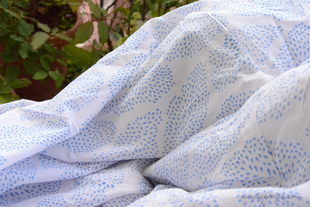 Block Printed Organic Cotton Fabric - SWEET SUMMER ( Big Leaves, Skies )