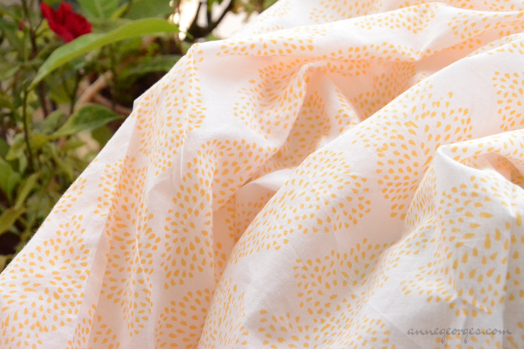 Block Printed Organic Cotton Fabric - SWEET SUMMER ( Big Leaves, Sunshine )