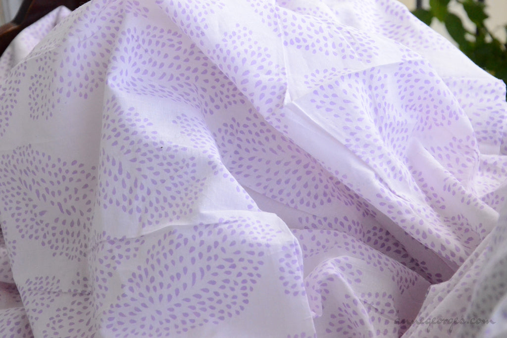 Block Printed Organic Cotton Fabric - SWEET SUMMER ( Big Leaves, Lavender )