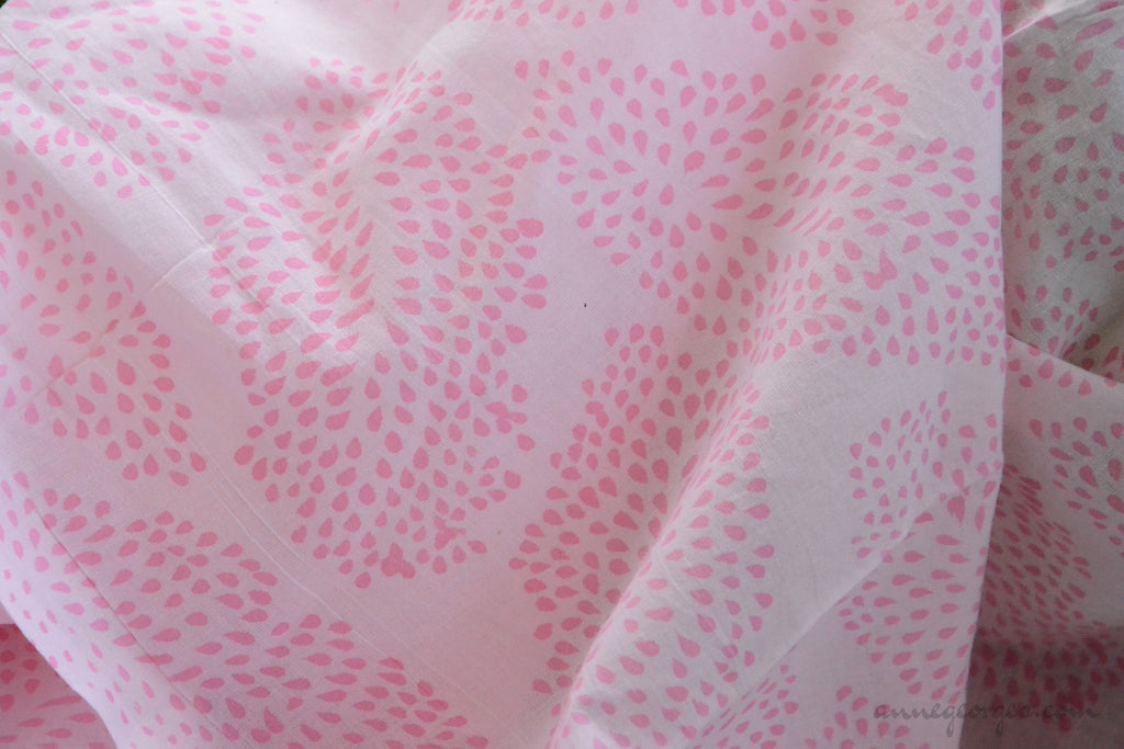 Block Printed Organic Cotton Fabric - SWEET SUMMER ( Big Leaves, Candy )
