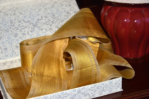 Handwoven Mulberry Silk Trim with Gold Brocade Thread. ( Temple Dancer Beige Diamonds )