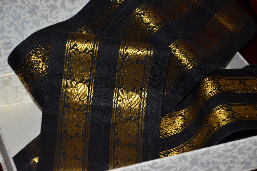 Handwoven Mulberry Silk Trim with Gold Brocade Thread. ( Temple Dancer Black Peacock Double Border )