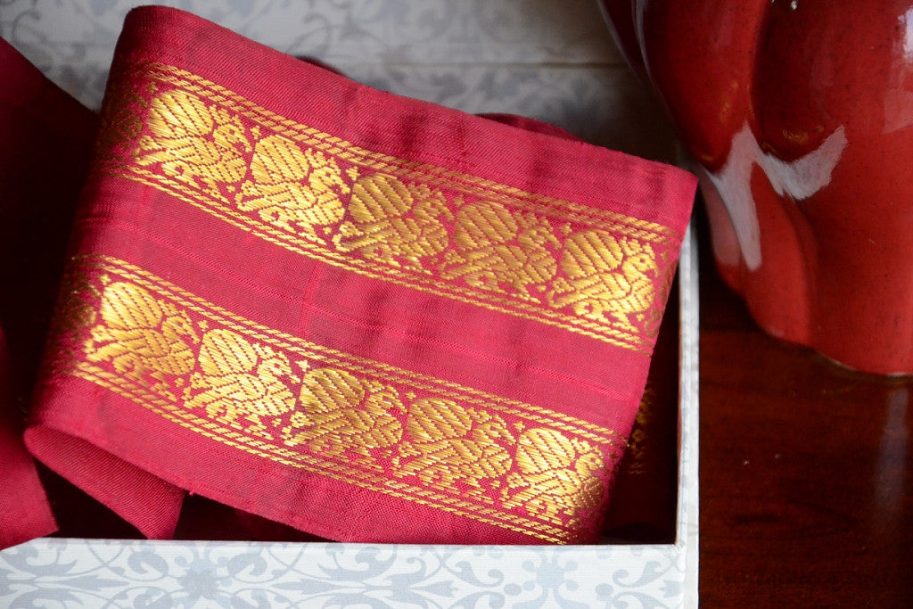 Handwoven Mulberry Silk Trim with Gold Brocade Thread. ( Temple Dancer Burgundy Peacock )