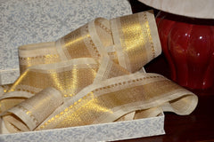 Handwoven Mulberry Silk Trim with Gold Brocade Thread. ( Temple Dancer Cream Diamonds )
