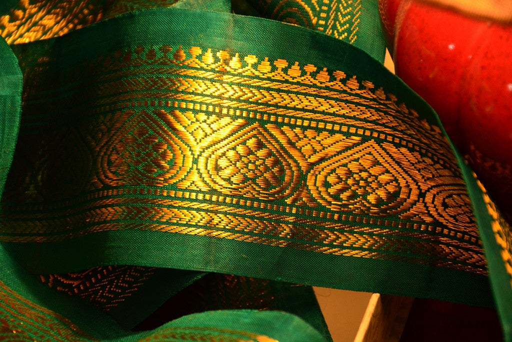 Handwoven Mulberry Silk Trim with Gold Brocade Thread. ( Temple Dancer Emarald Spade )