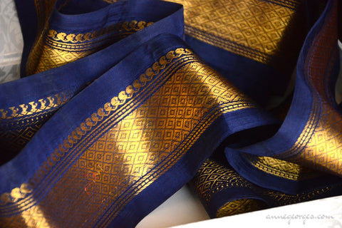 Handwoven Mulberry Silk Trim with Gold Brocade Thread. ( Temple Dancer Ink Blue Diamonds )