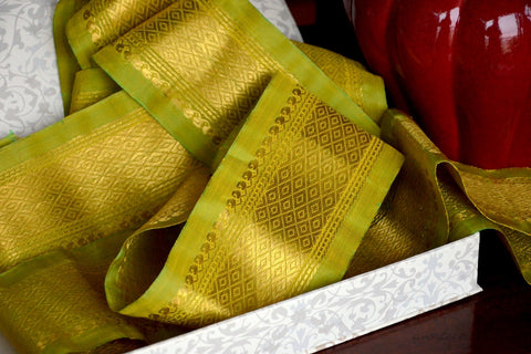 Handwoven Mulberry Silk Trim with Gold Brocade Thread. ( Temple Dancer Key Lime Diamonds )