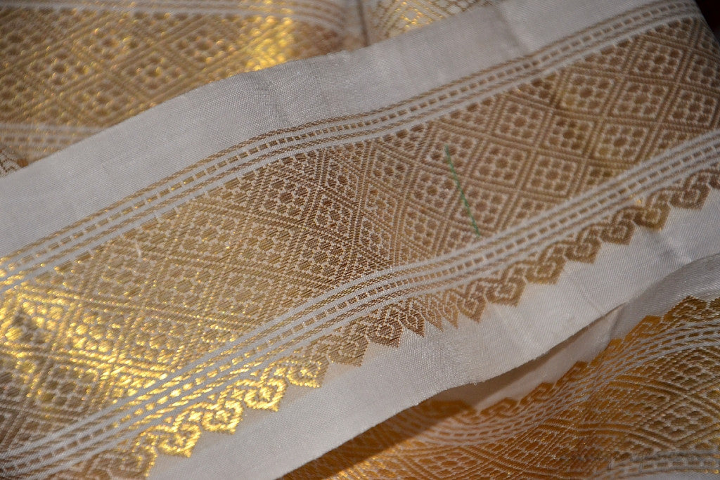 Handwoven Mulberry Silk Trim with Gold Brocade Thread. ( Temple Dancer Off-White Floral Diamonds )