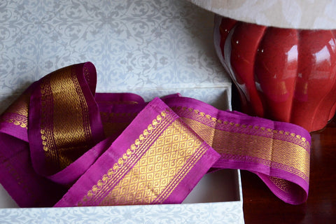 Handwoven Mulberry Silk Trim with Gold Brocade Thread. ( Temple Dancer Purple Diamonds )