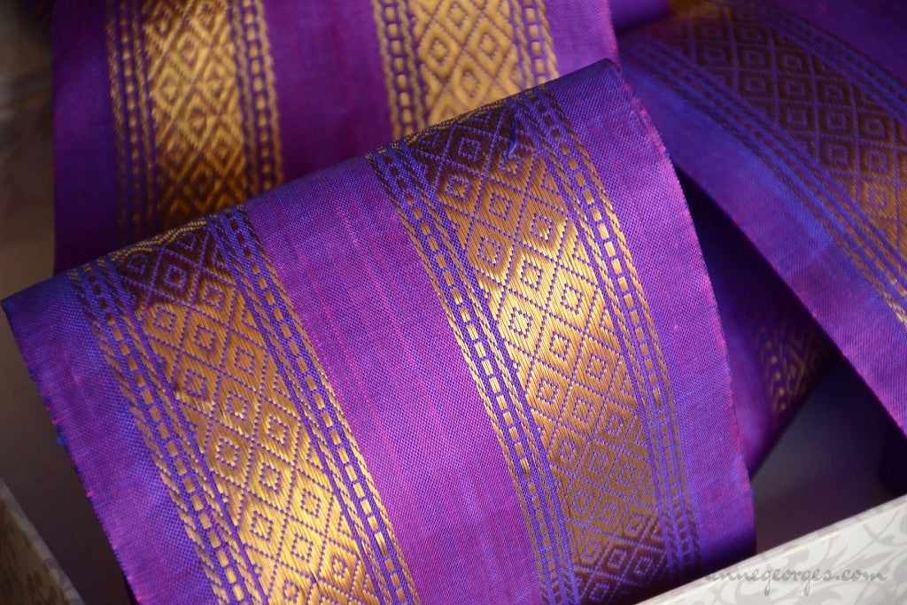 Handwoven Mulberry Silk Trim with Gold Brocade Thread. ( Temple Dancer Purple Diamonds Double Row)