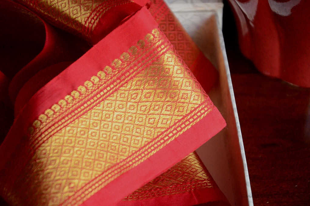 Handwoven Mulberry Silk Trim with Gold Brocade Thread. ( Temple Dancer Scarlet Diamonds )