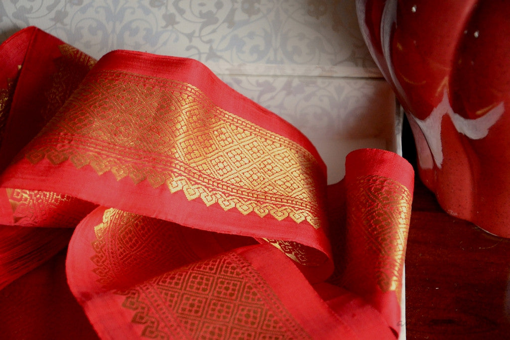 Handwoven Mulberry Silk Trim with Gold Brocade Thread. ( Temple Dancer Scarlet Floral Diamonds )