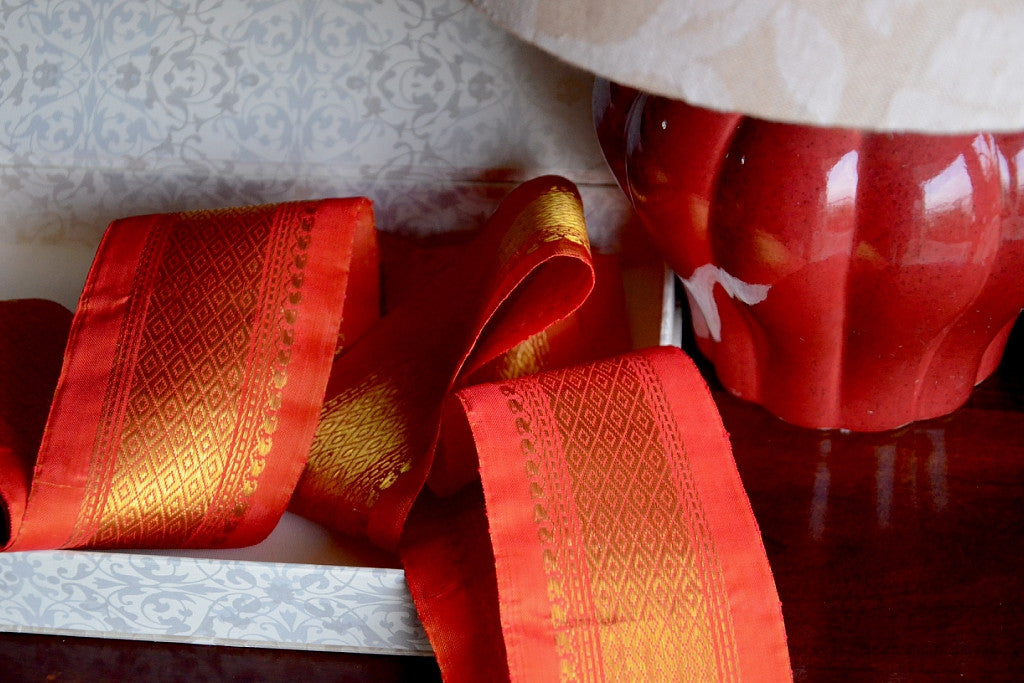 Handwoven Mulberry Silk Trim with Gold Brocade Thread. ( Temple Dancer Sunset Diamonds )