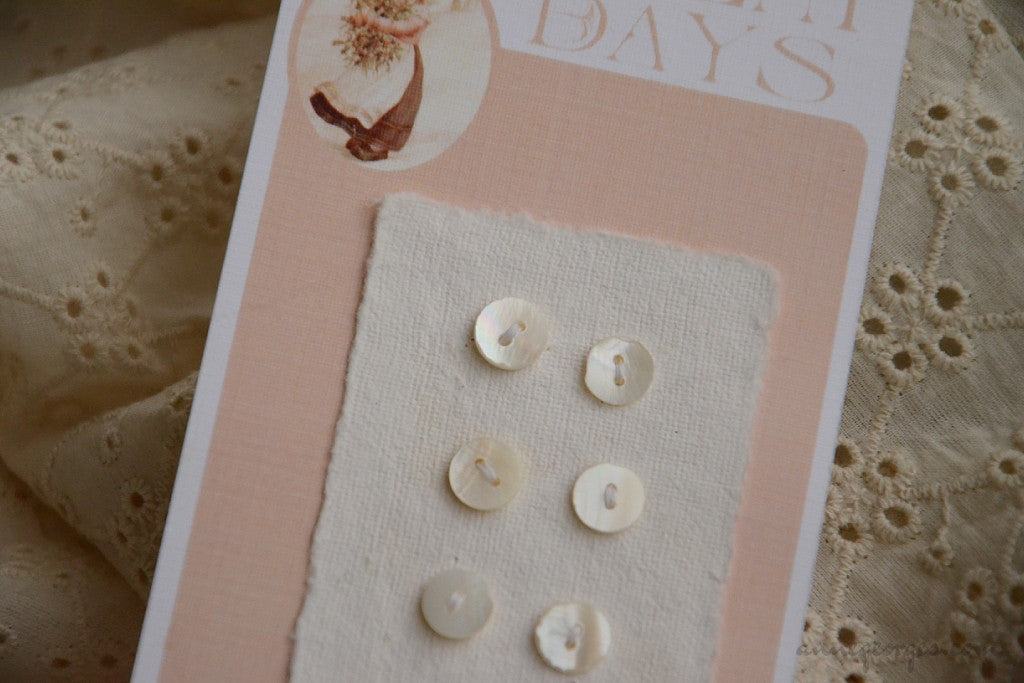 Handmade Mother of Pearl Buttons - CONVENT DAYS ( Card B2 )