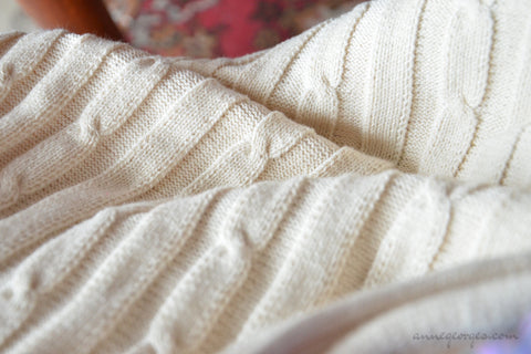 Cable Knit Fabric Yardage. Natural uncolored, dyeable fabric. Staithes. 22 in / 55 cm wide.