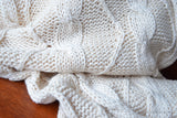 Organic Cotton Cable Knit. CABLE KNITS ( Abbotsbury, Unbleached Dyeable )