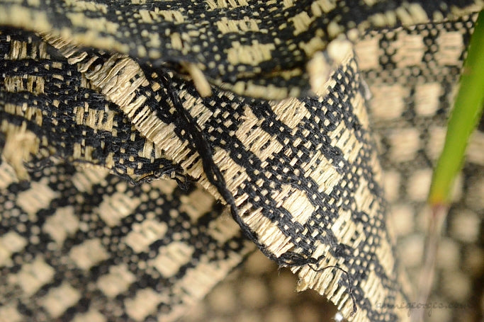 Silk Boucle Tweed Fabric by the Yard. Designer Collection - Chequer - Black and Beige - 54'' / 136cm W