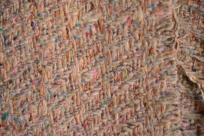 Silk Cotton Boucle Tweed Fabric by the Yard. Designer Collection -Fairydust - Sand and Multi Color - 54'' / 137cm W