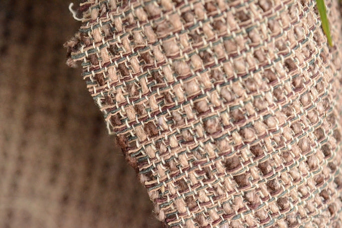 Silk Cotton Boucle Tweed Fabric by the Yard. Designer Collection - Garnet - Sand, Olive and Brown - 53'' / 134.5cm W