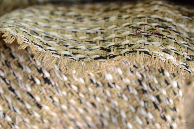 Cotton Boucle Tweed Fabric by the Yard. Designer Collection - Harvest - Hay and Black - 54'' / 136cm W
